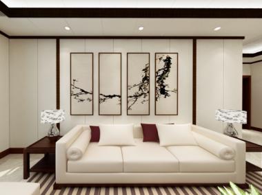 新中式风格效果图 爱尔菲顶墙一体案例效果图-装修效果图