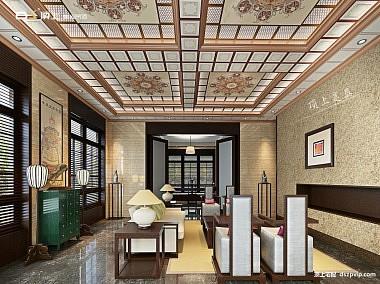 中式风格客厅效果图-顶上产品效果图-装修效果图
