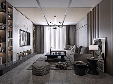 2019来斯奥铝晶大板客厅效果图-装修效果图