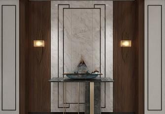 顶善美现代中式背景墙效果图