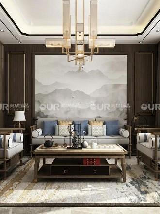 奥华墙板新中式背景墙装修效果图