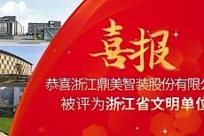 """鼎美荣获""""浙江省文明单位""""称号!"""